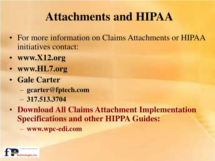 Attachments and HIPAA