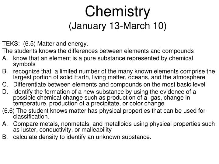 Chemistry january 13 march 10