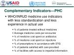 complementary indicators phc
