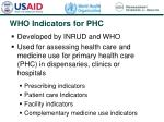 who indicators for phc