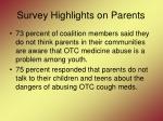 survey highlights on parents