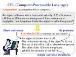 cpl computer processable language