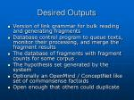 desired outputs