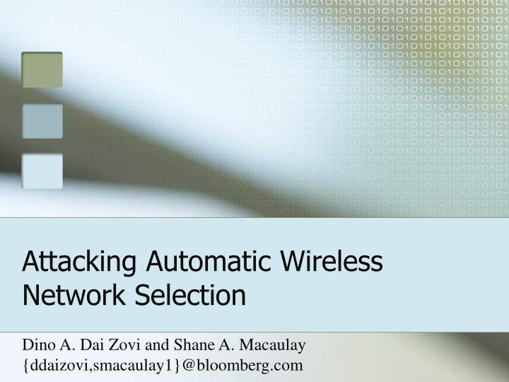attacking automatic wireless network selection n.