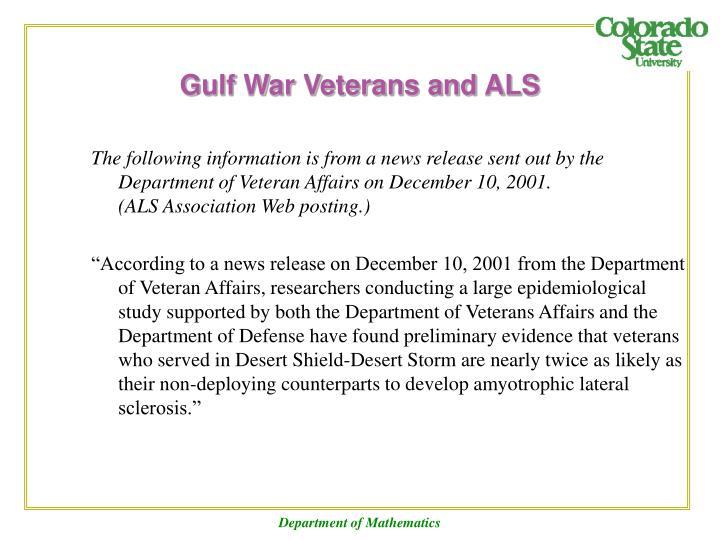 Gulf War Veterans and ALS