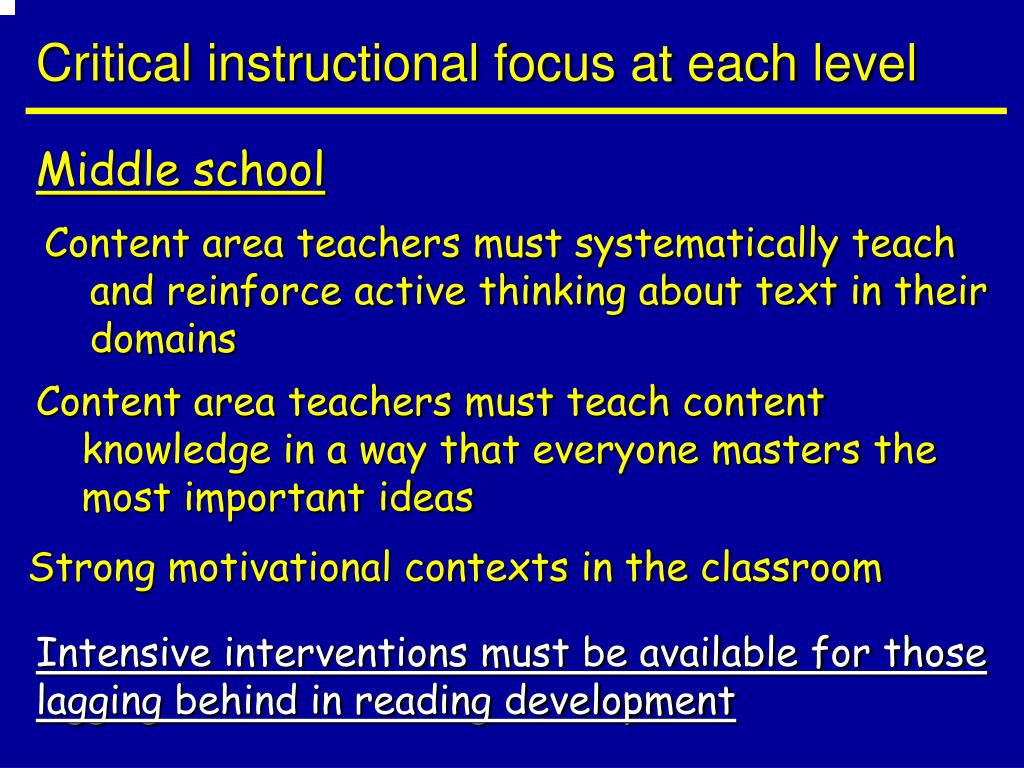 Critical instructional focus at each level