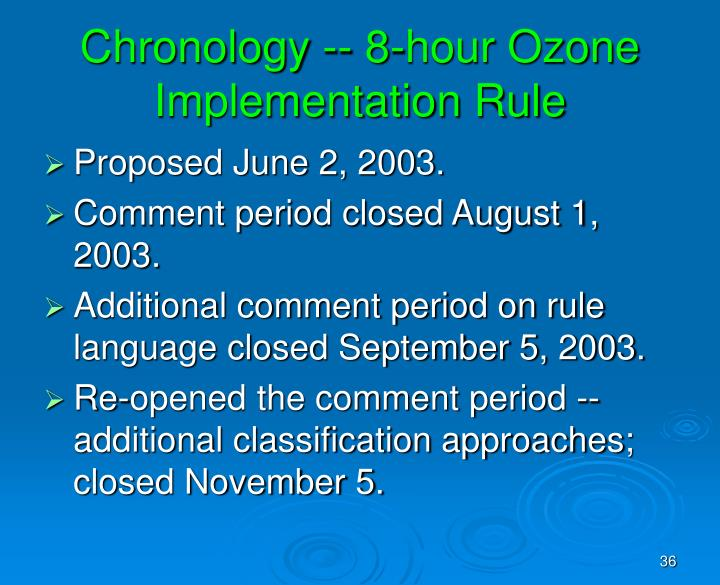 Chronology -- 8-hour Ozone Implementation Rule