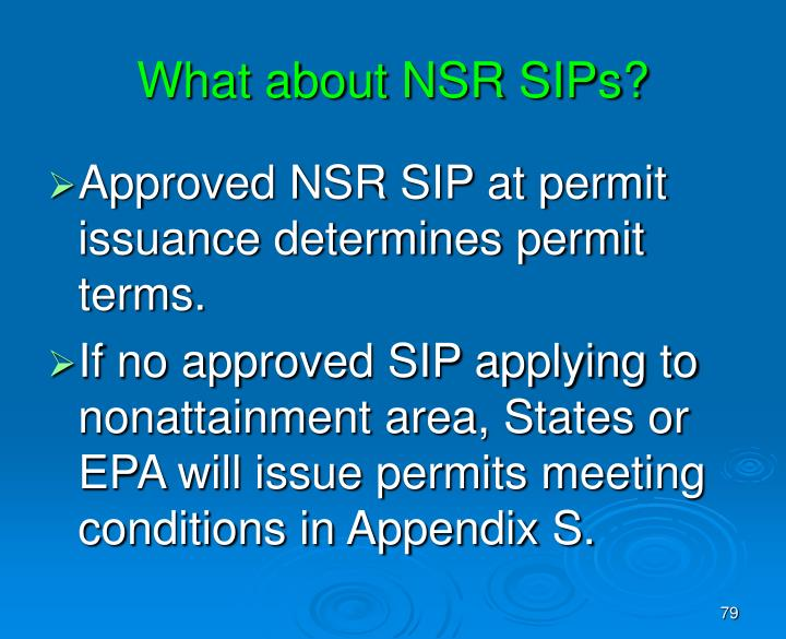 What about NSR SIPs?