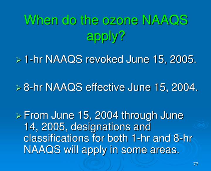 When do the ozone NAAQS apply?