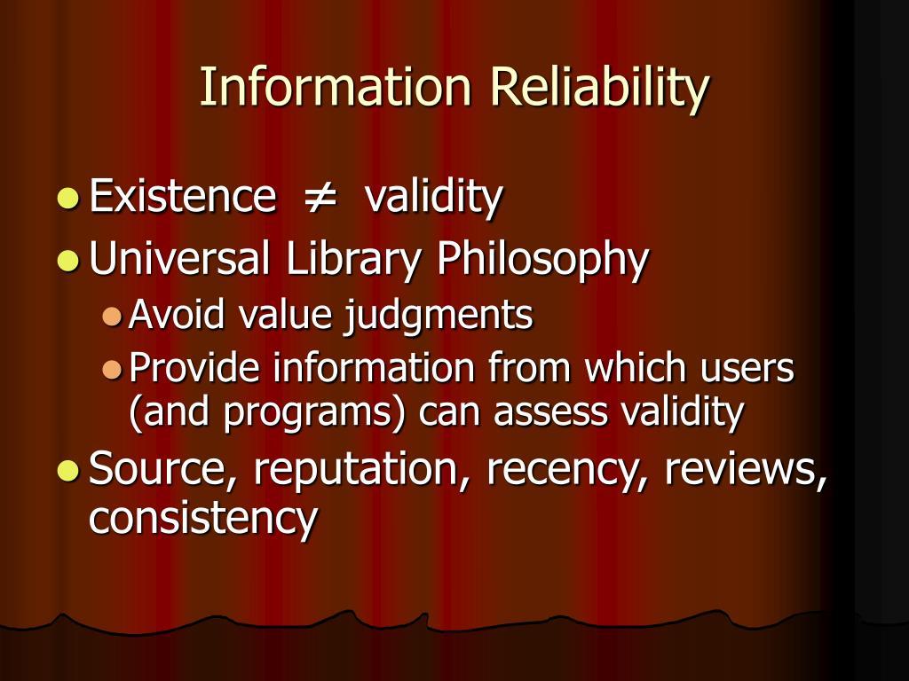 Information Reliability