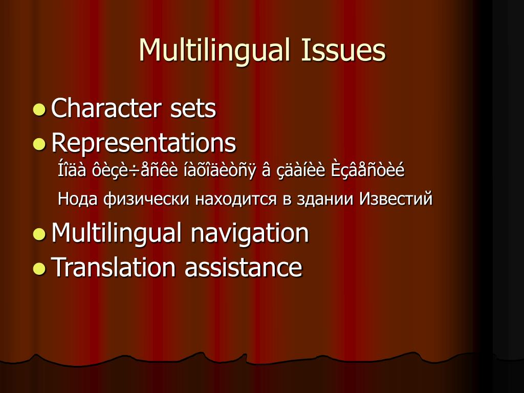 Multilingual Issues