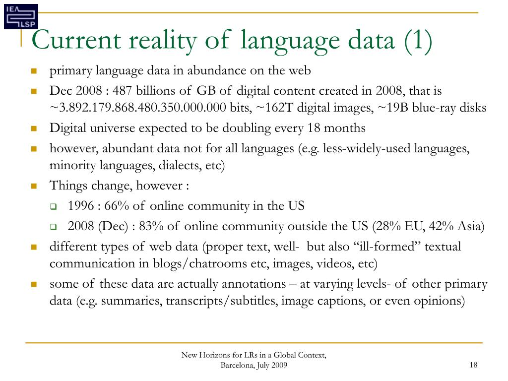 Current reality of language data (1)