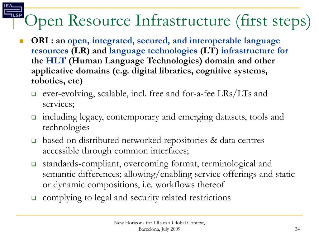 Open Resource Infrastructure (first steps)