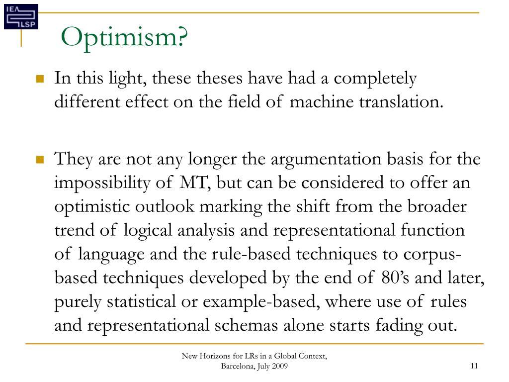 Optimism?