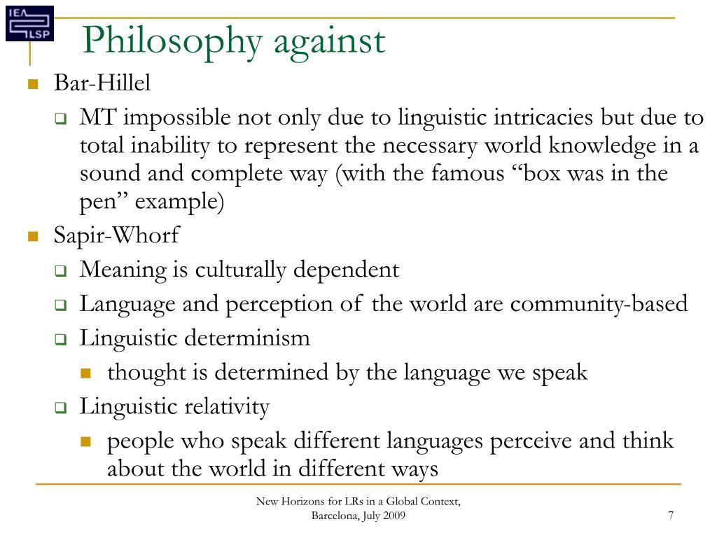 Philosophy against
