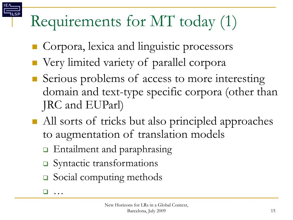 Requirements for MT today (1)