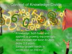 context of knowledge divide