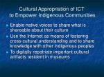 cultural appropriation of ict to empower indigenous communities