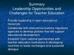 summary leadership opportunities and challenges for teacher education