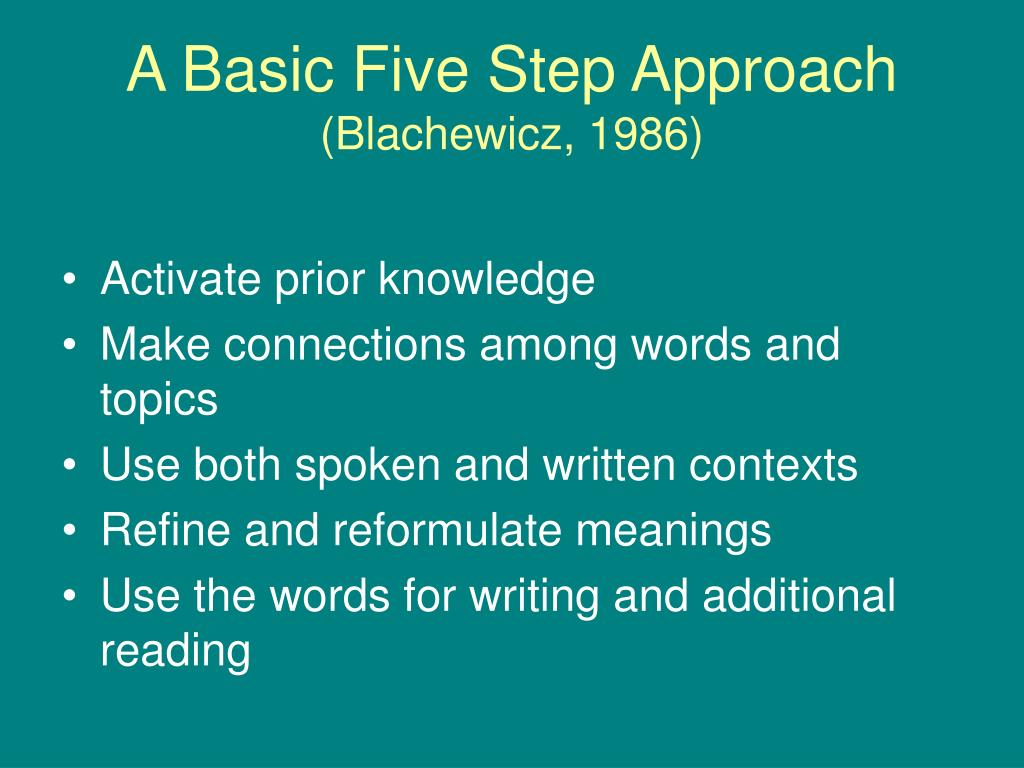 A Basic Five Step Approach