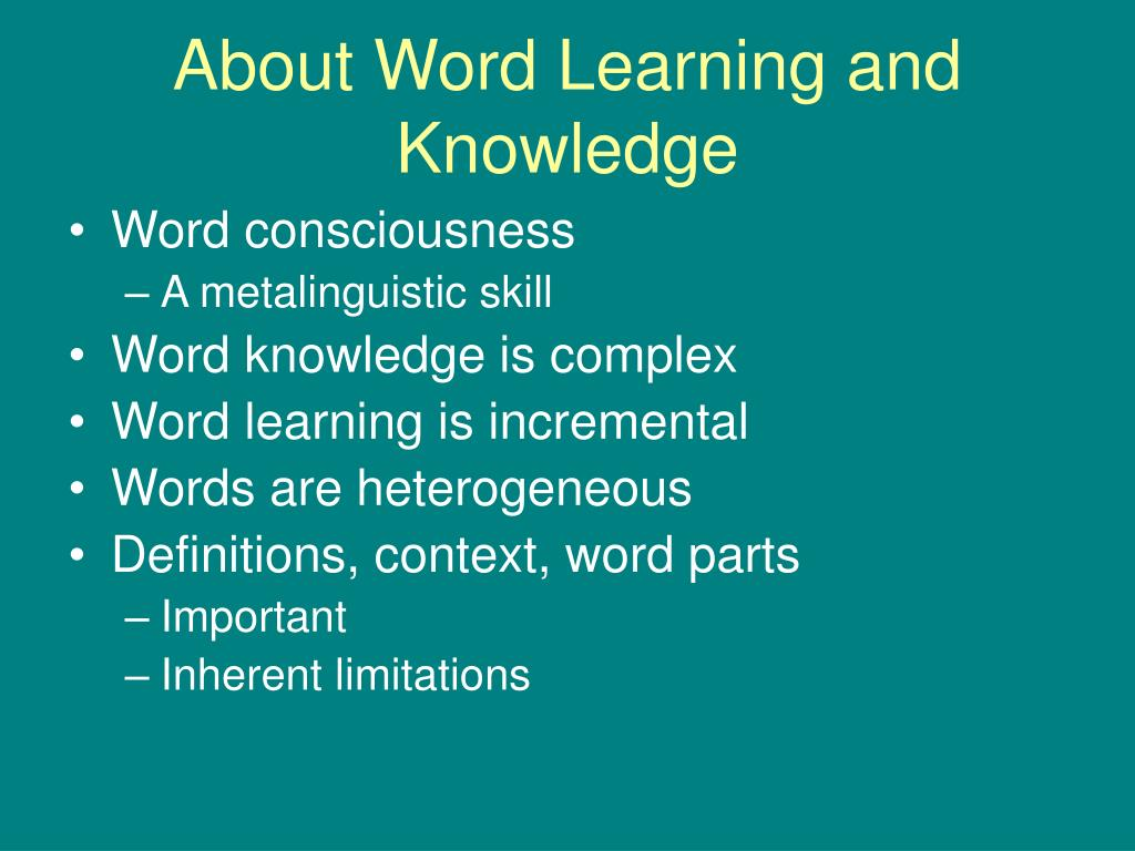 About Word Learning and Knowledge