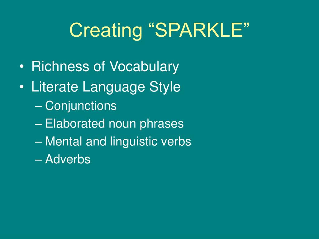 "Creating ""SPARKLE"""