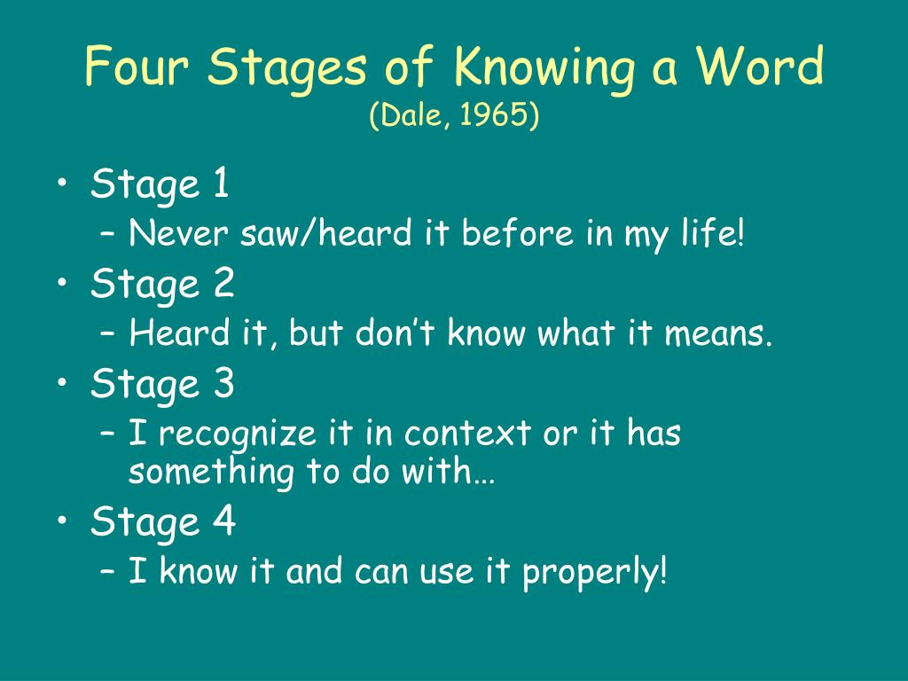 Four Stages of Knowing a Word