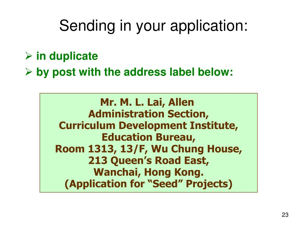 Sending in your application: