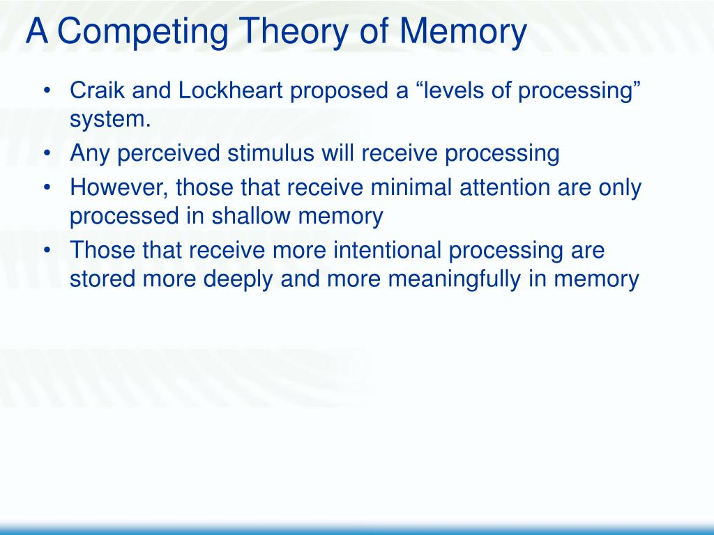 A Competing Theory of Memory