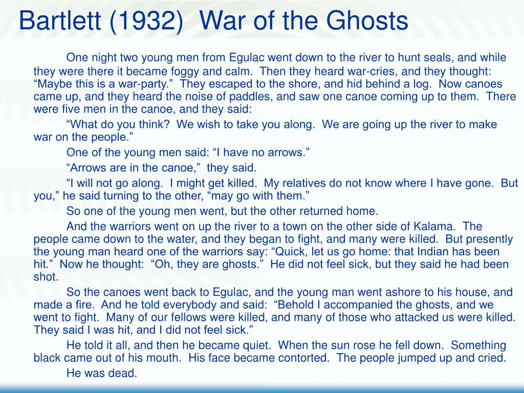 Bartlett (1932)  War of the Ghosts