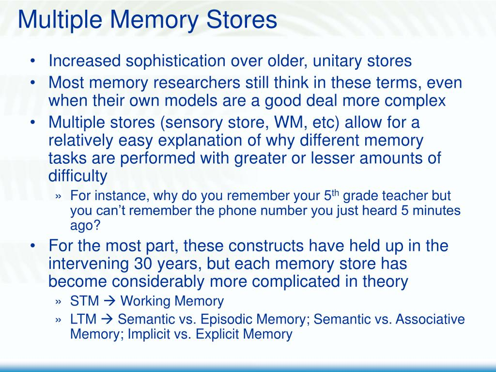 Multiple Memory Stores