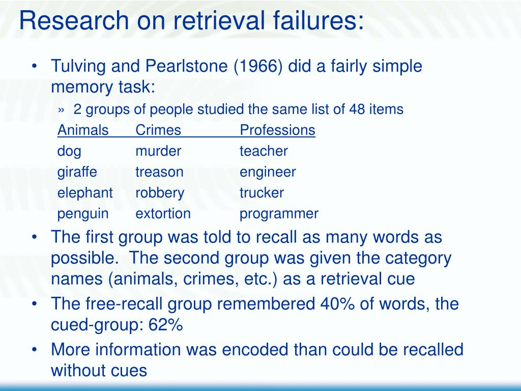 Research on retrieval failures: