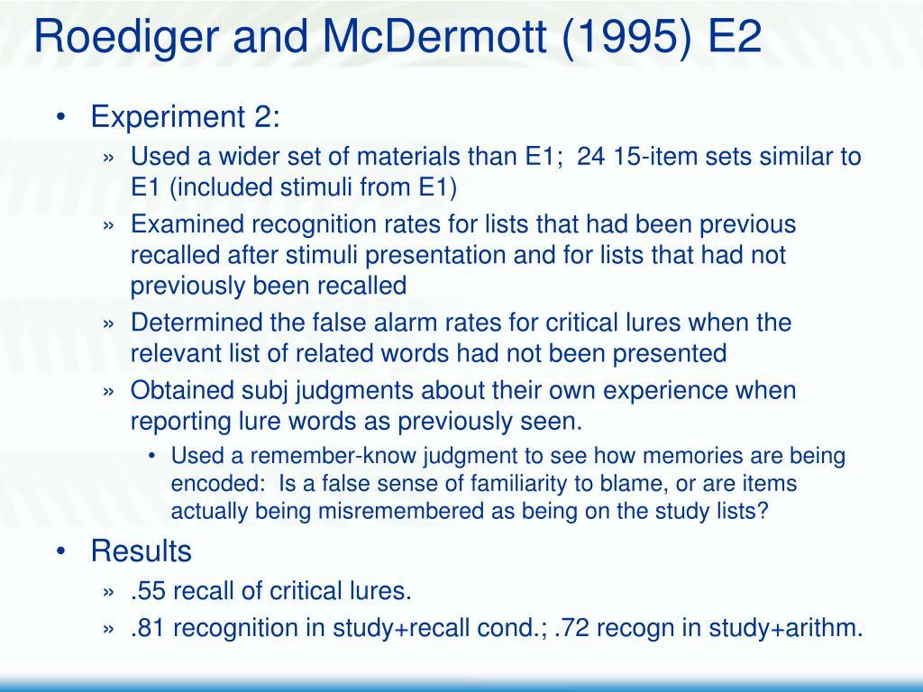 Roediger and McDermott (1995) E2