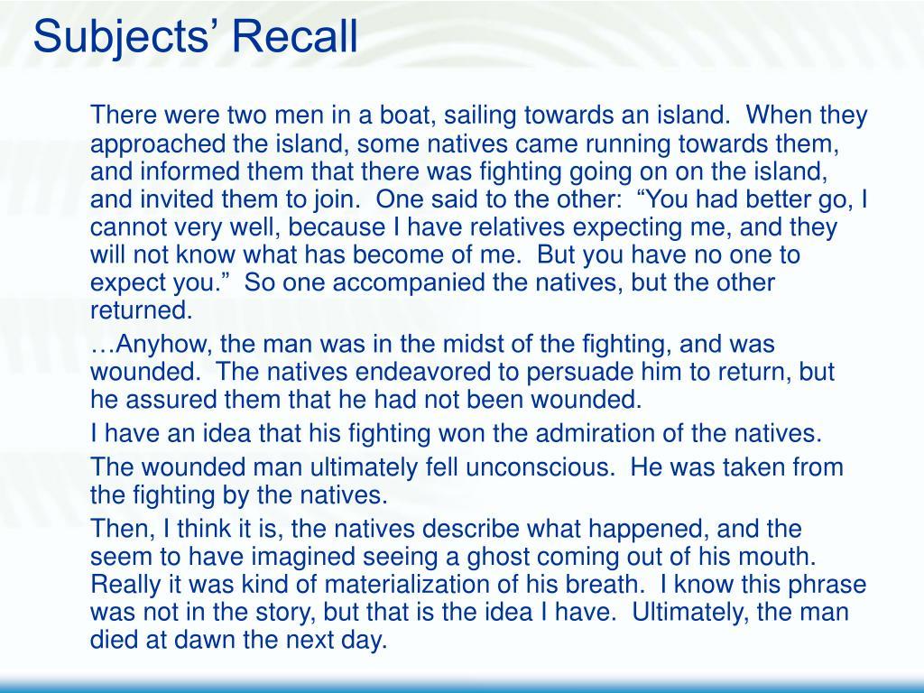 Subjects' Recall