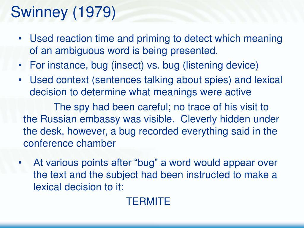 Swinney (1979)