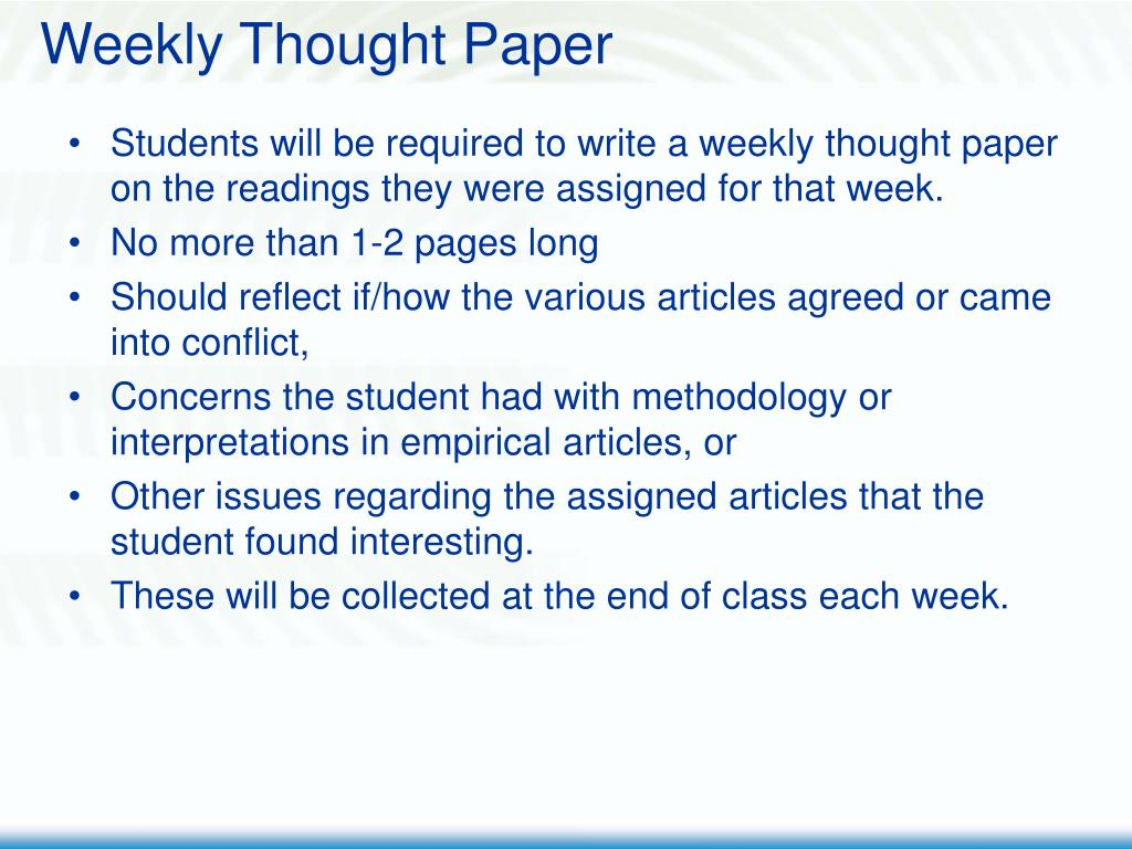 Weekly Thought Paper