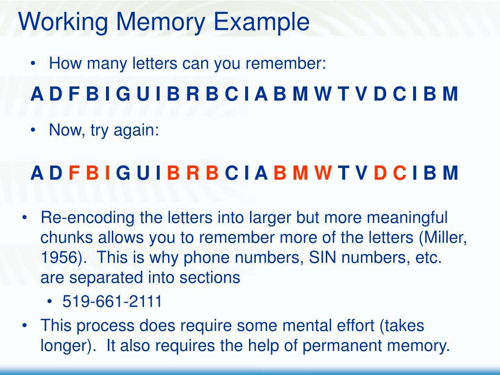 Working Memory Example