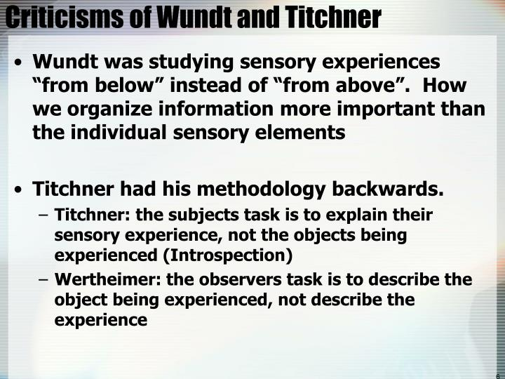 Criticisms of Wundt and Titchner