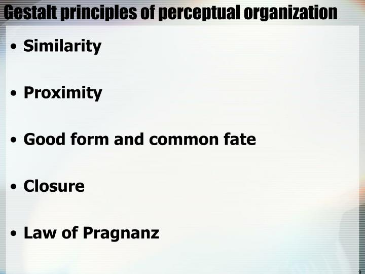 Gestalt principles of perceptual organization
