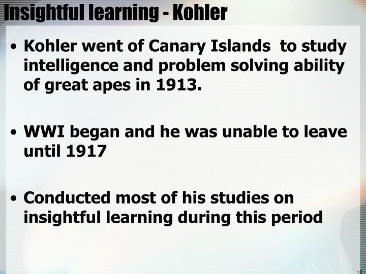 Insightful learning - Kohler