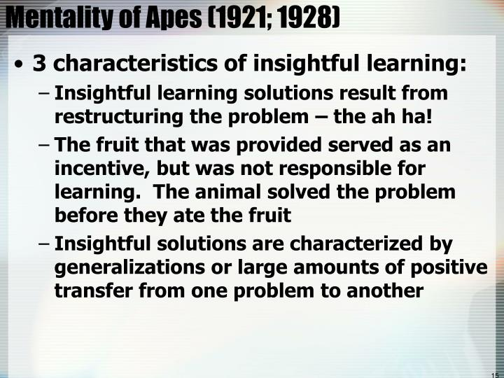 Mentality of Apes (1921; 1928)