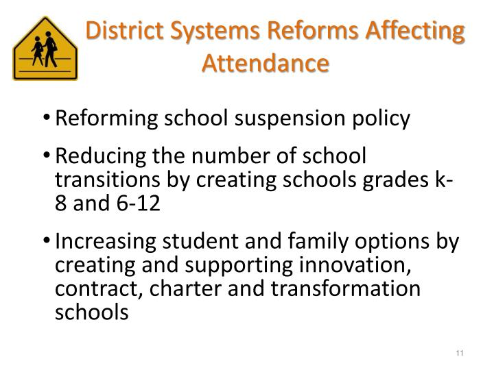 District Systems Reforms Affecting Attendance