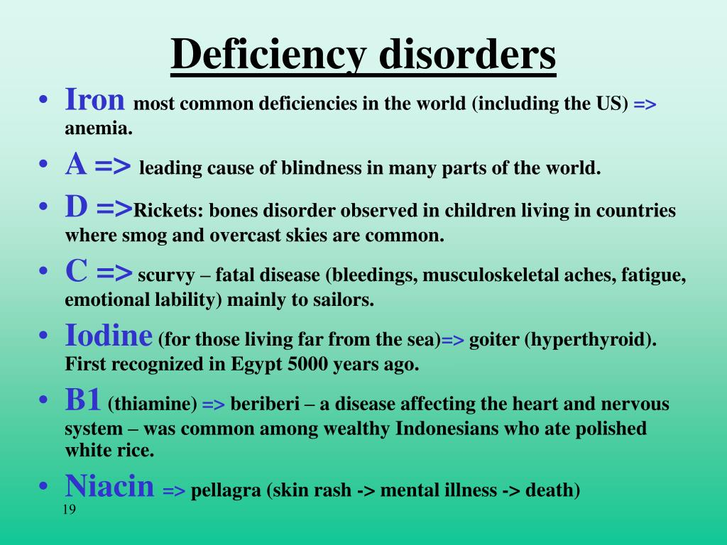 Deficiency disorders
