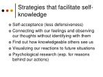 strategies that facilitate self knowledge