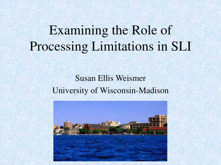 examining the role of processing limitations in sli n.