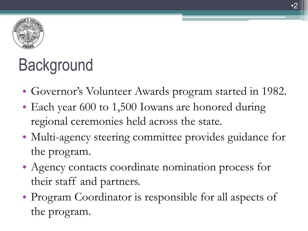 Governor's Volunteer Awards program started in 1982.