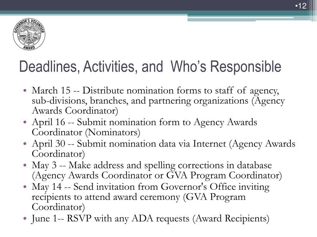 March 15 -- Distribute nomination forms to staff of agency, sub-divisions, branches, and partnering organizations (Agency Awards Coordinator)