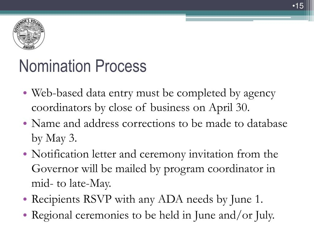 Web-based data entry must be completed by agency coordinators by close of business on April 30.