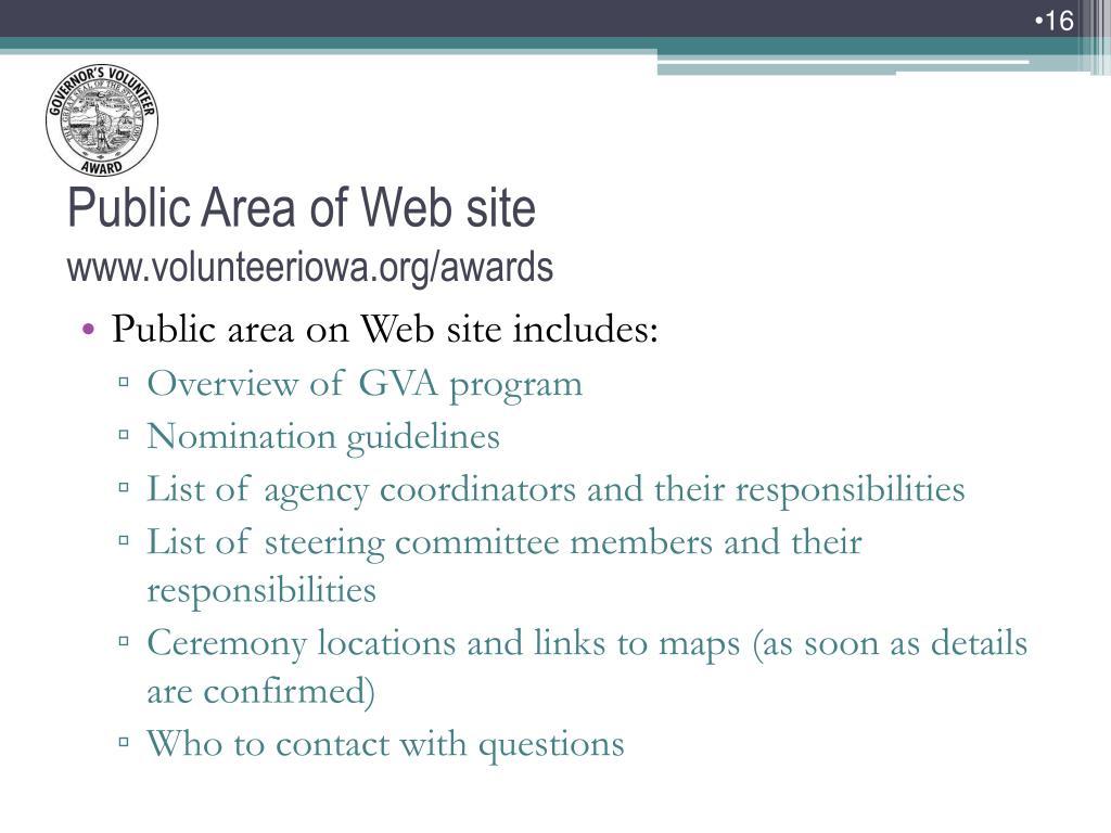 Public area on Web site includes: