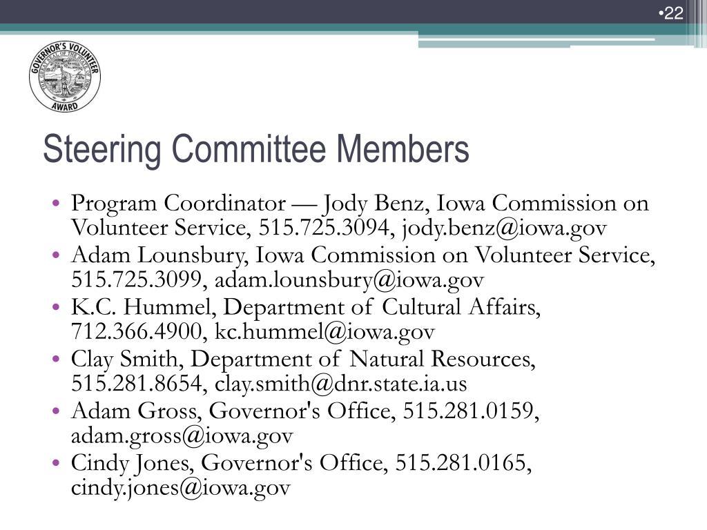 Program Coordinator — Jody Benz, Iowa Commission on Volunteer Service, 515.725.3094, jody.benz@iowa.gov